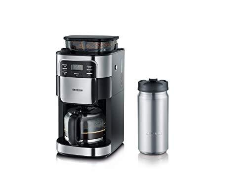 SEVERIN KA 4810 Kaffeeautomat mit Mahlwerk + Thermobecher To-Go 340 ml, (Mahlwerk für Kaffeebohnen und Filterkaffee, Timerfunktion, Automatische Abschaltung, 8 Tassen) edelstahl/schwarz