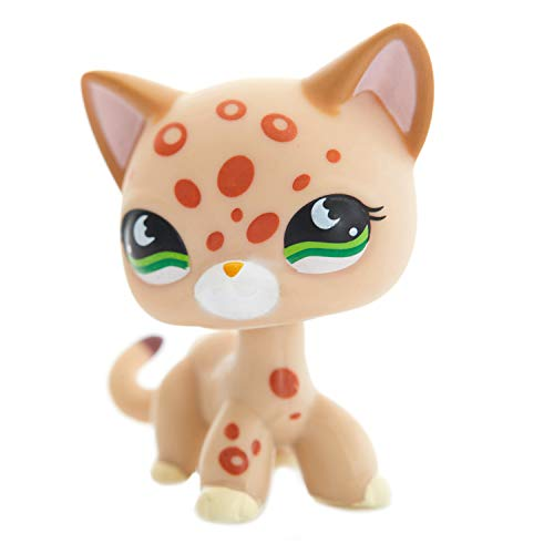 Rare Mini Shorthair Cats Toy – Orange Spots Leopard Kitty – Little Pet Shop Figure – Green Eyes Mini Cat – Cute Short Hair Toys for Kids – Animal Toy for Girls & Boys 3 & Up Ages – #852 – 1pc