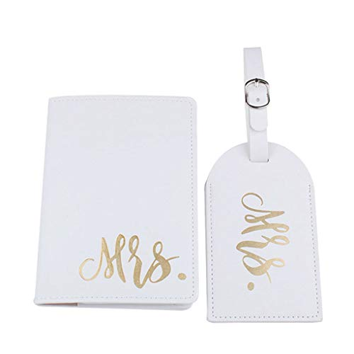 suoryisrty Portable Mr Mrs Travel Passport Card Cover with Luggage Tags Holder Protector White
