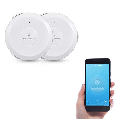 AC Powered Smart Wi-Fi Water Sensor, Flood and Leak Detector with 6ft/1.8m Cable– Alarm and App Notification Alerts, No Expensive Hub Required, Simple Plug & Play by Wasserstein (2 Pack)