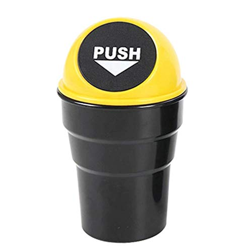 xmwm Fashion Cup-Shaped Cover Car Vehicle Push The Desktop Plastic Trash Trash Box,Yellow