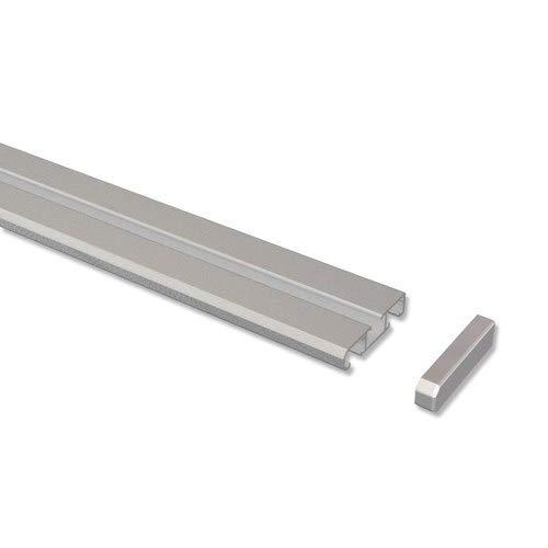 INTERDECO Gardinenschienen Silber-Grau 1-/2-läufige Vorhangschienen aus Aluminium, Slimline, 160 cm