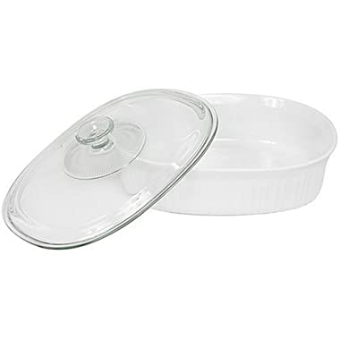 CorningWare 2-1/2-Quart Oval Casserole Dish with Glass Lid