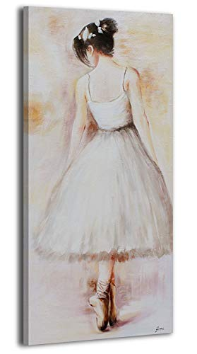 YS-Art | Cuadro Pintado a Mano Bailarina | Cuadro Moderno acrilico | 115x50 cm | Lienzo Pintado a Mano | Cuadros Dormitories | único | De Color Beige