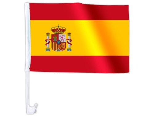 NFP 1 x Autofahne Autoflagge 45 x 30 Spanien Auto Fahne Fahnen Flagge Flaggen EM 2016 mit Halterung
