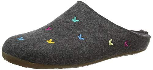 HAFLINGER Everest Farfalline, Pantofole Donna, Grigio (Anthrazit 4), 36 EU