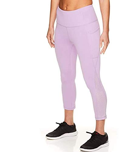 Reebok Women's High Waisted Capri Workout Leggings - Cropped Performance Compression Gym Tights - Purple Rose Revel High Rise, Large