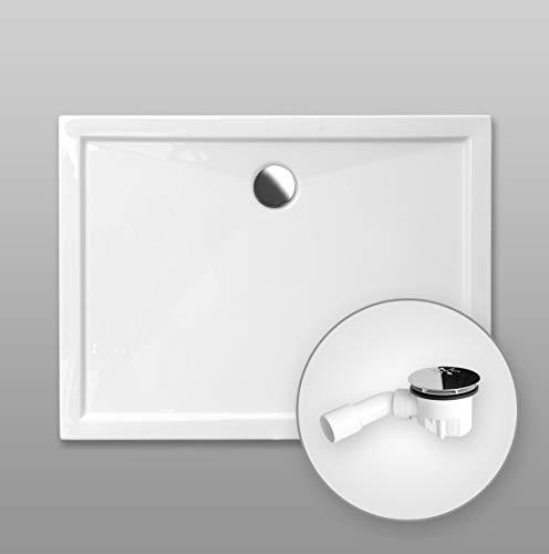 Duschwanne AQUABAD® Comfort SIMPLON rechteckig 80 x 90 cm, Extraflache Acryl-Duschtasse, Aufbau-Höhe: 5,5 cm, Ablaufgarnitur Viega Standard