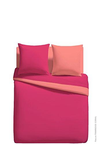 Parure Linge DE LIT Housse DE Couette 200cm x 200cm + 2 to 63 cm x 63 cm Unie Bicolore Framboise/Corail 100% Polyester Microfibres