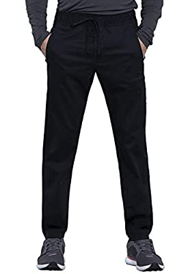 Cherokee Workwear Revolution Men's Natural Rise Straight Leg Jogger Scrub Pant, XL, Black