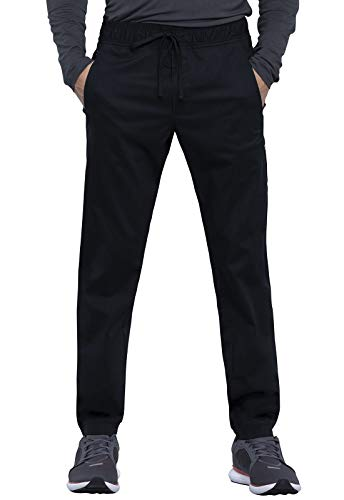 Cherokee Workwear Revolution Men Scrubs Pant Natural Rise Jogger WW012S, XS Short, Black (Apparel)