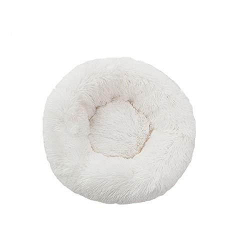 Kittie Haustierbett für Kleine Mittlere Katzen Hunde Weich Warm Katzenbett Donut Form Rund Bett Weiß