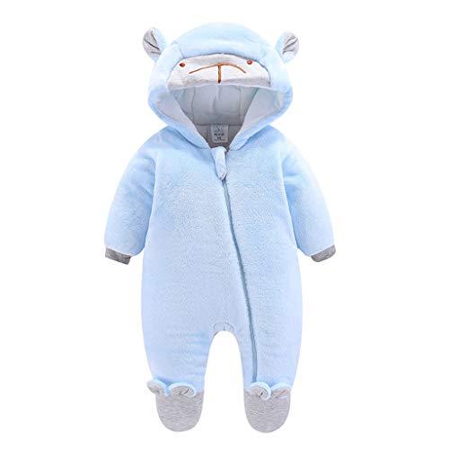 Livoral Baby Winterjacke, Baby, Baby Mädchen, Junge, einfarbig, Bär, Reißverschluss, Overall, Overall, warme Kleidung, Dicke Kleidung(Hellblau,3-6 Monate)