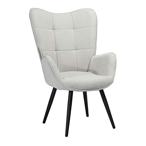 Meuble Cosy - Grande poltrona da salotto a 1 posto con rivestimento in tessuto grigio, braccioli ricoperti e piedi in legno massiccio metallo, 68 x 74 x 106 cm