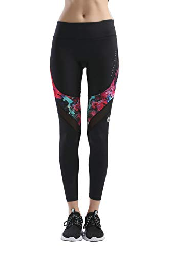 SILIK Mujeres Deportes Entrenamiento Deportivo Leggings Completo Yoga Pantalones Gimnasio Pantalones Correr Medias Rojo Impreso M