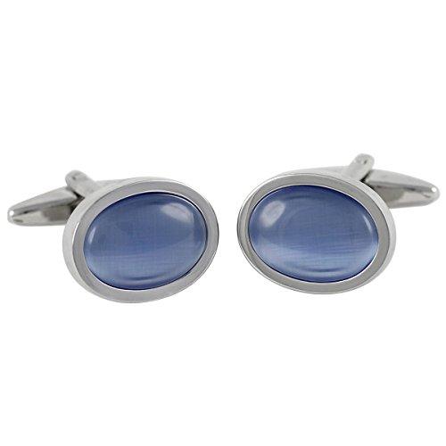 Lindenmann Cufflinks/Cuff Buttons, Silvery with Cats-Eye Light Blue, Gift Box, 10429