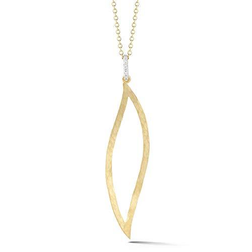 14K Yellow Gold 0.06ct TDW Diamond Accent Open Leaf Pendant Necklace (0.06 Ct Tdw Diamond)