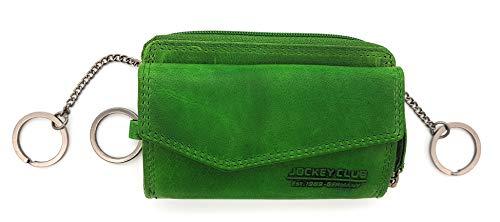 XL Schlüssel-Etui Schlüsseletui Mappe mit Münzfach Kreditkartenfächer Geldbörse Tasche Sauvage-Leder Jockey Club Avocado grün