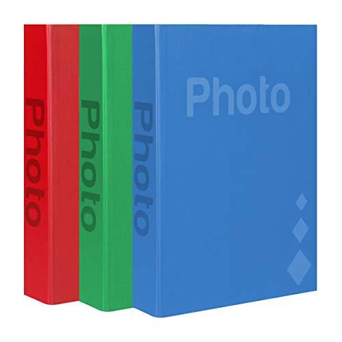 LC DISTRIBUTION Basic - Lote de 3 álbumes de Fotos (200 Fotos de 10 x 15 cm o 11 x 16 cm), Color Rojo, Azul y Verde