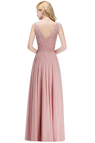 MisShow Damen 2018 neues Elegant Ärmellos A-Linie Chiffon Lace Abendkleider elegant für Hochzeit Abschlussball Cocktailkleider Festliches Partykleider Rosa 34