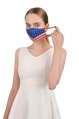 Balobo Reusable Unisex Children Ice Silk Thin Fabric Face Washable Breathable Cotton (Adult American Flag)
