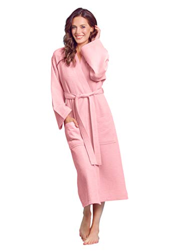 Luxuriöser Bademantel, weich, saugfähig, leicht, lang, Kimono mit Waffelmuster -  Pink -  Medium