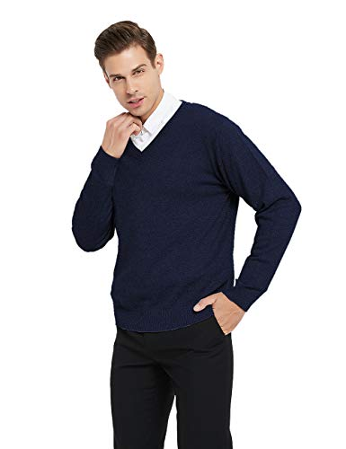 TOPTIE Mens V-Neck Cotton Knitted Slip Over Sweater Long Sleeve