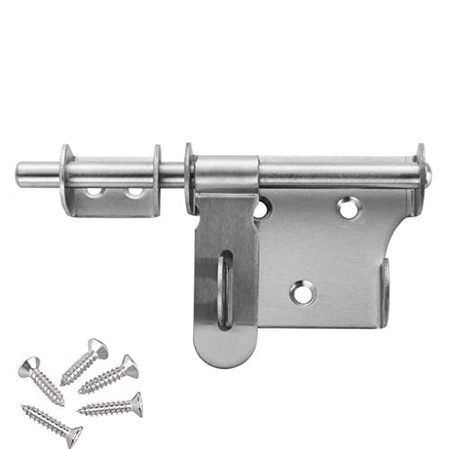 Sliding Barrel Bolt Gate Latch Lock, HLOMVE 6 Inch Heavy Duty Bolt Latch Lock with Padlock Hole, 10MM Barrel Bolt Latch Lock for Double Gate, Barn Gate Latches, Stainless Steel Brushed Finish