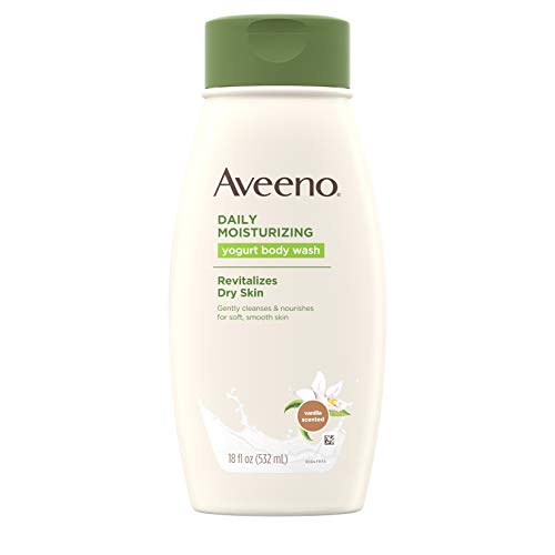 Aveeno Daily Moisturizing Yogurt Body Wash for Dry Skin with Soothing Oat & Vanilla Scent, Gentle Body Cleanser, 18 fl. Oz (Pack of 3)