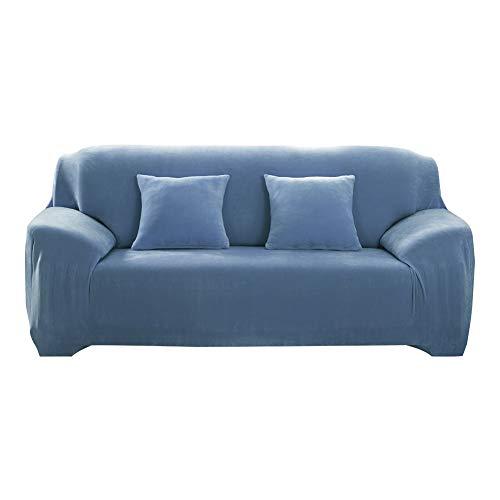 AMZTP Velvet Plüsch Schonbezug Sofa, Stretch Sofa Überwurf Sofabezug Weich Dick Sofahusse Für L-Form Schnittcouch,1 2 3 4 Sitzer Recliner (Grey Blue,2 Seats 145-185cm)