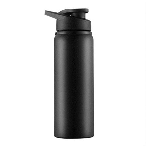 Botella de agua deportiva de acero inoxidable para ciclismo al aire libre, camping, portátil, bicicleta, deporte, viaje, botella con tapa, 700 ml, color rojo kshu (color: negro)