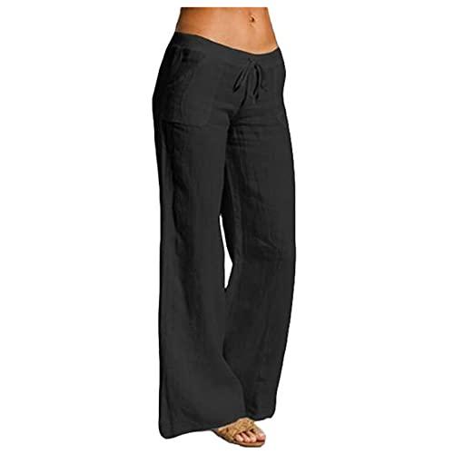 Linen Pants Women Cotton Linen Elastic Waist Drawstring Long Casual Wide Leg Pants