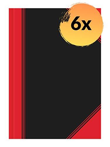 Landre China-Kladde A4 kariert, 96 Blatt, Notiz-Buch in schwarz rot, 6 Stück
