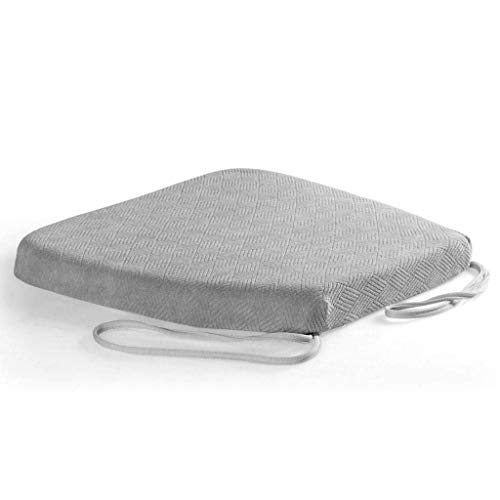 XMJG Memory Foam Cushion, Non-Slip Relief Sciatica Office Chair Dining Chair Seat Cushion With Adjustable Strap Daily Household Chair Cushion-42x44cm(17x17inch)-gray