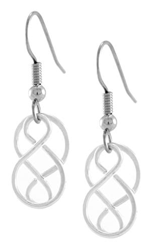Handcrafted Celtic Knot Earrings, Lightweight Gaelic Silver Plated Earrings with Surgical Steel Ear Wire for Sensitive Ears