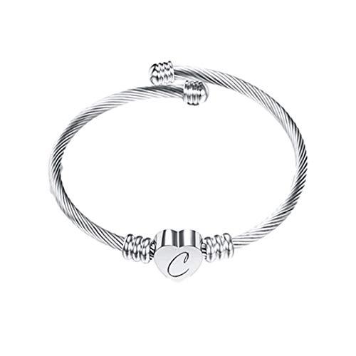Janly Clearance Sale Collares y colgantes para mujer, 26 letras, pulsera de alambre de acero inoxidable, pulsera en forma de corazón, conjuntos de joyas, día de San Valentín (C)