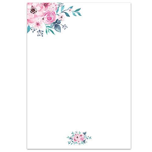 Briefpapier Set Aquarell-Blumen, Rose I 50 Blatt Motiv-Papier in DIN A4 I vintage Einladung Brief I Valentinstag Hochzeit Liebe Frühling I dv_427