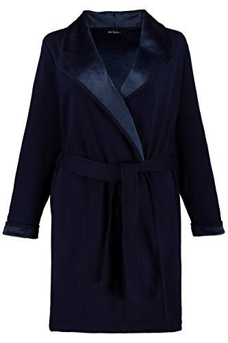Ulla Popken Damen große Größen bis 64, Bademantel, außen Jersey & innen Fleece, offene Form, Stehkragen, breiter Spatenkragen, dunkelblau 58/60 720853 70-58+