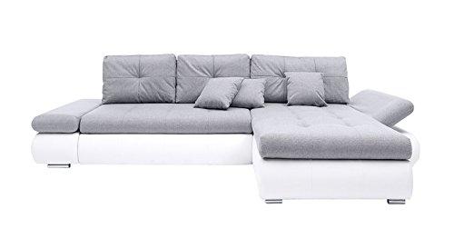 AVANTI TRENDSTORE - Howie - Divano ad angolo con funzione letto, cassettone integrato e poggiabraccia regolabili, in similpelle bianca e microfibra grigia, dimensioni: LAP 303x88x175 cm
