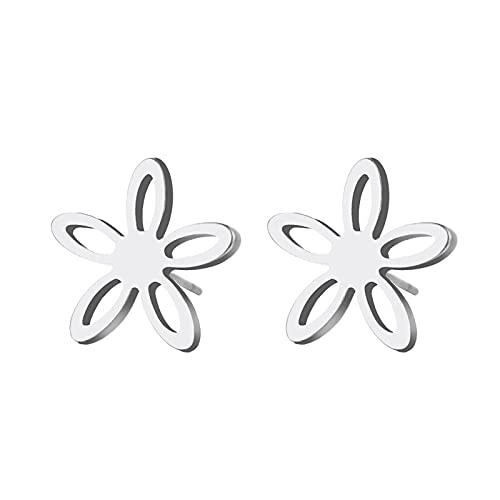 zhengyang Pendientes de corona para mujer, de acero inoxidable, para hombre, diseño de flores huecas, para parejas, joyas de compromiso (color metal: plata)