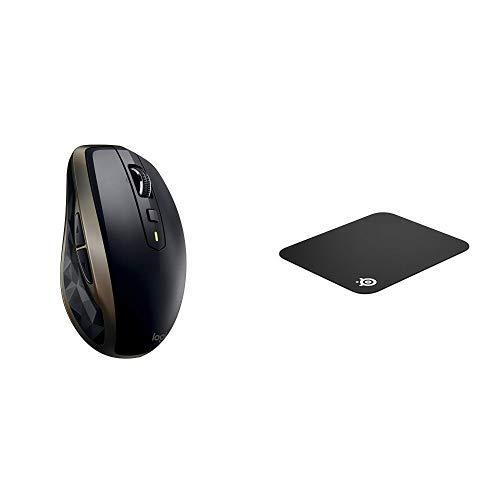 Logitech MX Anywhere 2 Mouse Wireless per Windows e Mac con Bluetooth e Unifying, Versione per Amazo + SteelSeries QcK Mini, Tappetino per Mouse da Gioco, 25 x 21 x 2 Centimetri, Tessuto, Base in Gomma