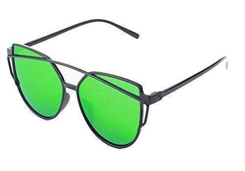 VINCENZA Gafas de sol de gran tamaño para mujer, diseño de lentes de espejo, estilo retro, vintage, ojo de gato