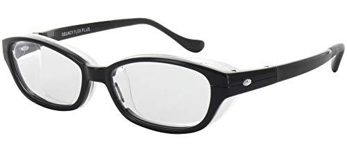 名古屋眼鏡 花粉メガネ 目立たない 曇らない おしゃれ スカッシー フレックスプラス ブラック L (NEW 曇り止めコート仕様) 8838-01