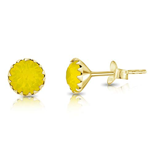 DTPSilver - 925 Sterling Silver Yellow Gold Plated Round Stud Earrings made with Glittering Crystals from Swarovski Elements - Diameter: 6 mm - Colour : Yellow Opal
