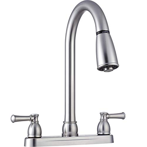 Dura Faucet DF-PK350L-SN RV Non-Metallic Dual-Lever Pull-Down Kitchen Faucet (Brushed Satin Nickel)