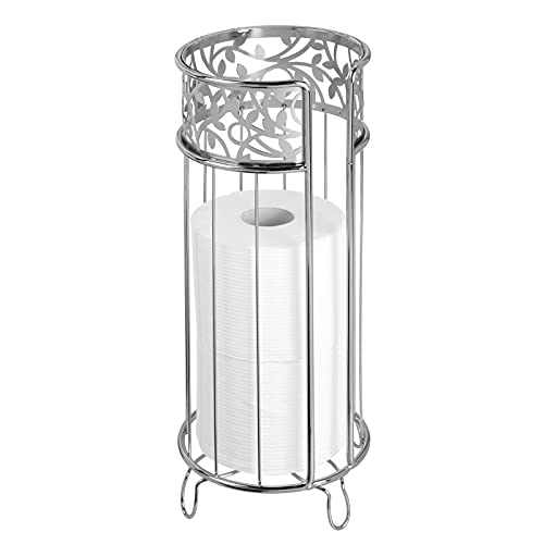 mDesign Decorative Free Standing Toilet Paper Holder Stand with Storage for 3 Rolls of Toilet Tissue - for Bathroom/Powder Room - Holds Mega Rolls - Durable Metal Wire - Chrome