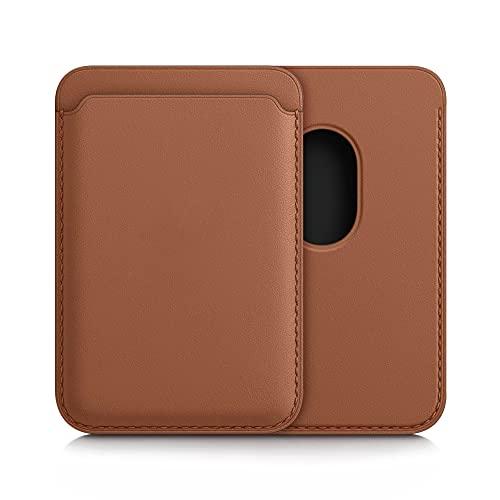 kwmobile Tarjetero Compatible con Apple iPhone 12 Series/iPhone 13 Series - Portatarjetas magnético de Cuero sintético - marrón