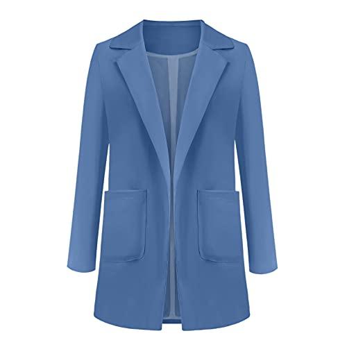 Eaylis Damen Fester Offener Anzug Vordertaschen Strickjacke Anzug Langarm Bluse Mantel, Sakko Freizeit Button Kurzarm Normallacks Revers Slim Fit Coat Trendigen Outerwear