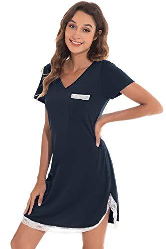 CMTOP Chemise de Nuit Femme Coton Chemise de Nuit Courte Chemise de Nuit d'été en Dentelle avec Poche à Manches Courtes Chemise de Nuit en Dentelle Grande Taille T Shirt (Bleu foncé, L)