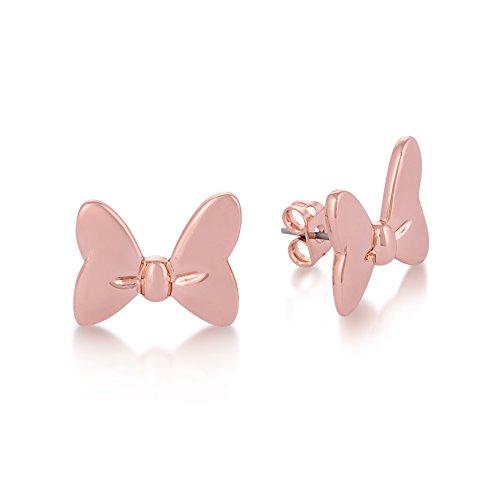 Disney - Orecchini a forma di Minnie, placcati oro rosa, con fiocco a farfalla